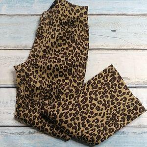 GUESS High Waist Leopard Print Denim Jeans